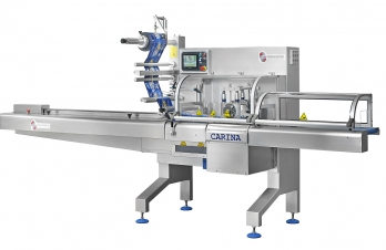 "<p><strong>Carina is an Automatic Horizontal Flow-Pack Machine. It works with a flat sheet plastic coil to make a ""pillow-pack"" bag with 3 welds - two transverse welds and a longitudinal one. Equipment suitable for the food and technical sector.</strong></p>